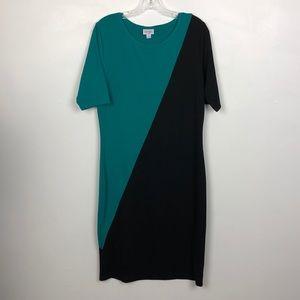 LuLaRoe Julia Bodycon Color Block Dress EUC